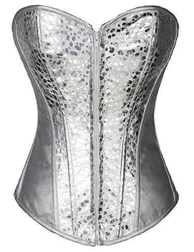 PhilaeEC Damen Korsett mit Pailletten Schnüren Baske Bustier Übergröße (Silver, S)
