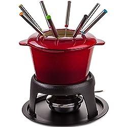 Service à Fondue Savoyarde Andrew James pour Fromage ou Chocolat - 130 ml Casserole à Fondue en Fonte Fini Émaillée Rouge avec Brûleur à Gel - Comprend 8 Fourchettes Fondue
