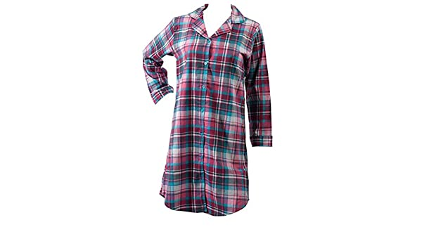 2b6f85de6c Slenderella Ladies Tartan Nightshirt Brushed Cotton Long Sleeve Checked  Nightie UK 20 22 (Turquoise)  Amazon.co.uk  Clothing