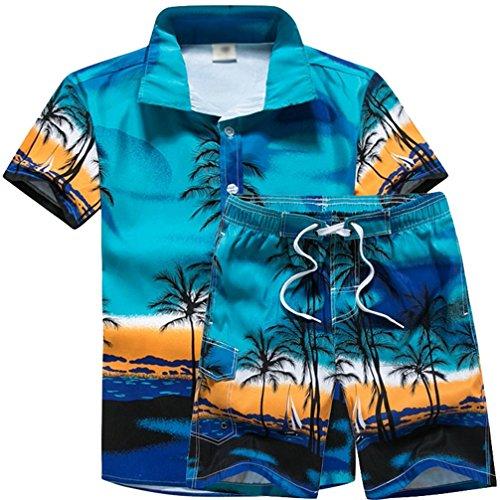 JEELINBORE Herren Hawaiihemd Bermuda Shorts für Karneval Party Strand Outfit Palmen Meer Fancy Kostüm Badeshorts (Blau, 4XL)