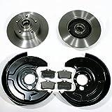 Bremsscheiben mit ABS Ringen/Bremsen + Bremsbeläge + Spritzbleche für hinten/die Hinterachse