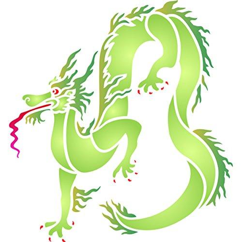 Dragon Schablone, wiederverwendbar, Oriental Chinesischer Drache Asien Wandbild-Vorlage, auf Papier Projekte Scrapbook Bullet Tagebuch Wände Böden Stoff Möbel Glas Holz usw. Größe S