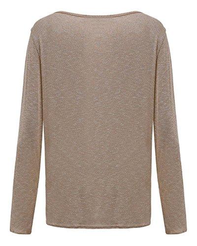 ZANZEA Damen Langarm Lose Bluse Hemd Shirt Oversize Sweatshirt Oberteil Tops Beige