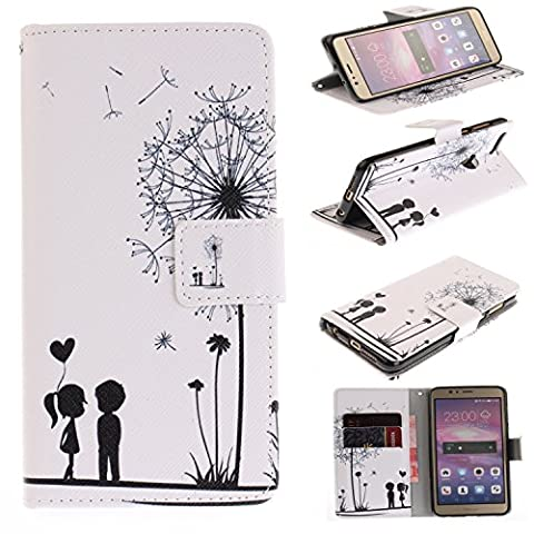 Huawei Honor 8 Case Cover [Anti-Scratch][Waterproof], Cozy Hut Practical Fashionable Creative Retro Patterns PU Folio Leather Wallet Designer Flip Magnetic with [Wrist Strap] and [Card Holder Slot] Shock Absorber Full Body Protection Holster Case Cover Skin Shell for Huawei Honor 8 5.2inch - Dandelion lovers