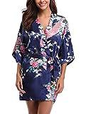 Uniquestyle femme kimono robe de nuit peignoir satin Fleurs Paon vetements chemise de...