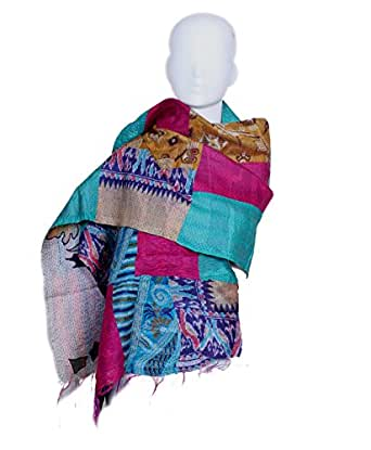 Indiweaves Vintage Silk Hand Quilted Kantha Hand Work Stoles Reversible Scarves Scarf Dupatta Patchwork Multicolor_80200-331-IW