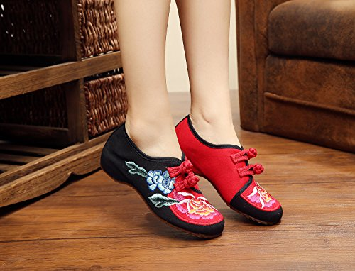 &QQ Chaussures brodées, lin, semelle de tendon, style ethnique, chaussures féminines, mode, confortable couvrir le pied Black