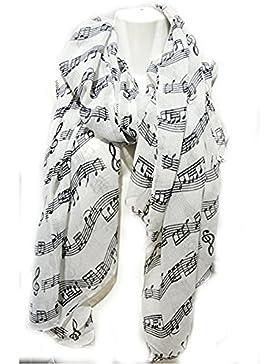 Bandn Fashion - Bufanda de piano para violín, diseño de notas musicales (color negro y blanco)