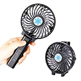AUGOLA Portable Handheld Fans, Mini Electric Fan USB Desk Fan Rechargeable Battery Powered Fan with Night Light for Home, Office, Camping and Travel (Black)