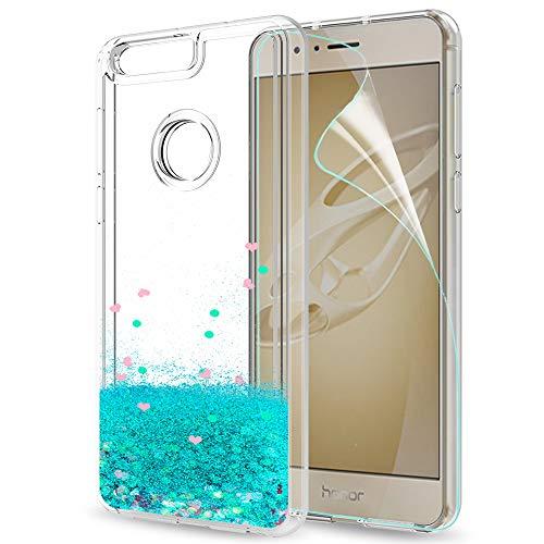 LeYi Hülle Huawei Honor 8 Glitzer Handyhülle mit HD Folie Schutzfolie,Cover TPU Bumper Silikon Flüssigkeit Treibsand Clear Schutzhülle für Case Huawei Honor 8 Handy Hüllen ZX Turquoise