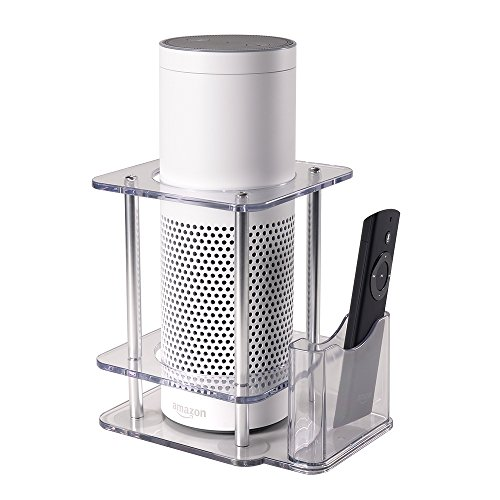 Speaker Stand for Amazon Echo Alexa 1st Generation, Echo Plus with Remote Holder - Clear Acrylic