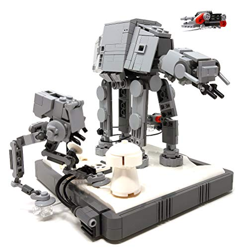 Modbrix Bausteine Imperialer Läufer & 2 x Rebel Speeder, Eisplaneten Diorama Set Konstruktionsspielzeug