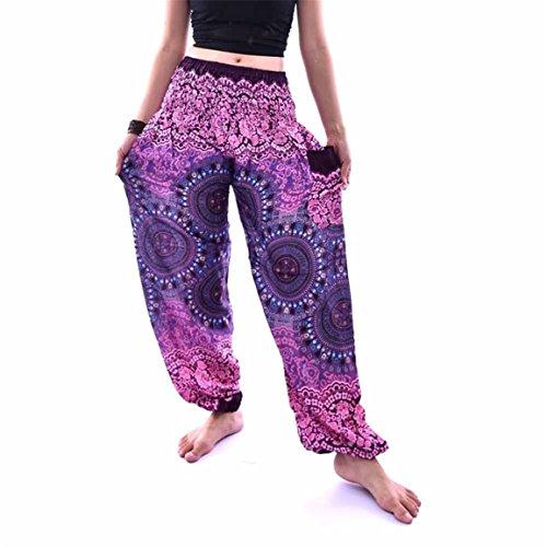 Bellelove,Hommes Femmes Pantalons, Printemps cheville-longueur Britches, Thai Harem Pantalons Festival Boho Hippy Smock taille haute Yoga Pantalons, Pantalon de danse Sport National Vintage (Violet)