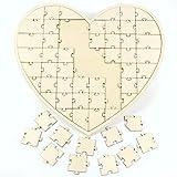 Anladia 56tlg Herz Gästebuch Holz Puzzle Hochzeitsgästebuch Hochzeit Taufe Geschenkidee