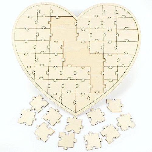 gaestebuch holzscheiben Anladia 56tlg Herz Gästebuch Holz Puzzle Hochzeitsgästebuch Hochzeit Taufe Geschenkidee