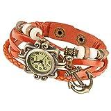 Taffstyle Damen-Armbanduhr Retro Vintage Geflochten Leder-Armband mit Charms Anhänger Analog Quarz Uhr Anker Gold Orange