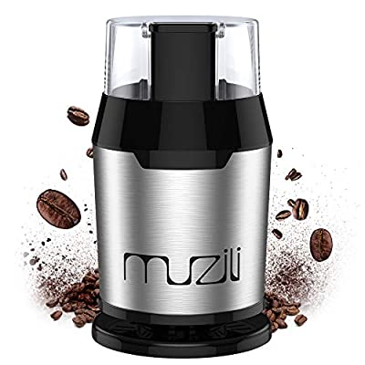 Coffee Grinder, Muzili Electric Coffee Grinder for Coffee Beans Nuts and Grains Grinder with 304 Stainless Steel Blades 22000rpm Powerful Motor, 60dB Low Noise, 50ml Capacity, Free Cleaning Brush by Muzili EU
