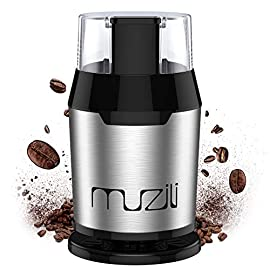 Coffee Grinder, Muzili Electric Coffee Grinder for Coffee Beans Nuts and Grains Grinder with 304 Stainless Steel Blades 22000rpm Powerful Motor, 60dB Low Noise, 50ml Capacity, Free Cleaning Brush
