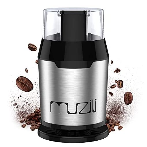 Coffee Grinder, Muzili Electric Coffee Grinder for Coffee Beans Nuts and Grains Grinder with 304 Stainless Steel Blades 22000rpm Powerful Motor, 60dB Low Noise, 50ml Capacity, Free Cleaning Brush 51R1gopbZpL