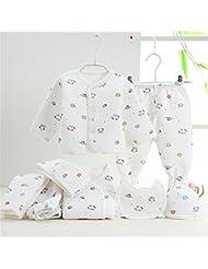 SHISHANG Caja de regalo del bebé Sistema 100% puro del bebé de la luna llena del algodón determinado fijado (sistema de 7 pedazos) Muchacha del muchacho cuatro estaciones para el bebé 0-1-Year-old , white background blue
