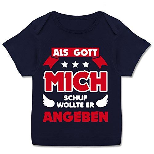 Sprüche Baby - Als Gott Mich Schuf - 80-86 (18 Monate) - Navy Blau - E110B - Kurzarm Baby-Shirt für Jungen und Mädchen