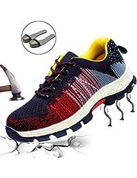 Hombre Mujer Zapatillas de Seguridad con Puntera de Acero Antideslizante Transpirable Zapatos de Trabajo Calzado de…