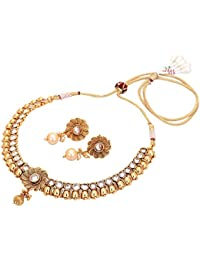 Aarvi Collections 24k Gold Plated Royal Designed Pure Antique Traditional Necklace Set For Women/Girls.