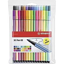 Premium-Filzstift - STABILO Pen 68 - 30er Pack - mit verschiedenen Farben inklusive 6 Neonfarben