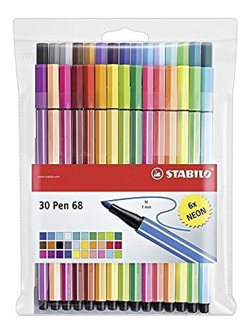 STABILO Pen 68 - Pochette de 30 feutres pointe moyenne - dont 6 couleurs fluo