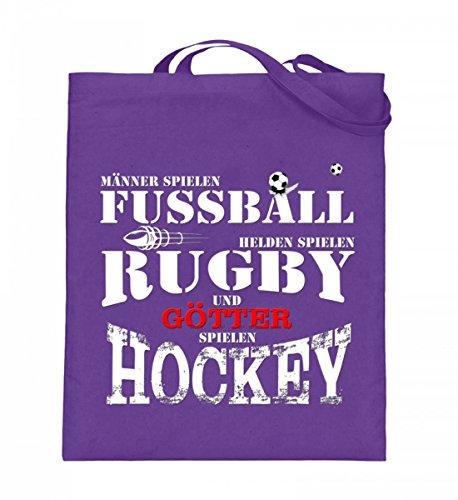 Hochwertiger Jutebeutel (mit langen Henkeln) - Fussball,Rugby,Hockey Violett