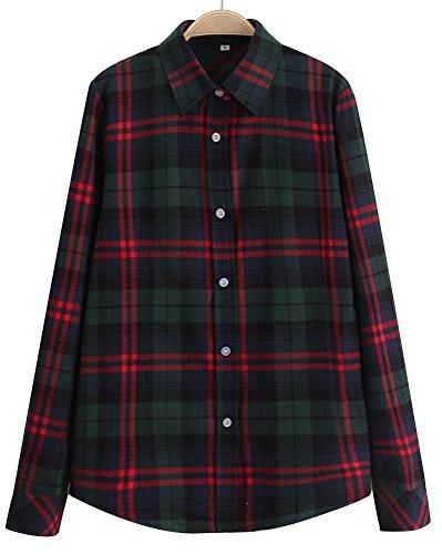 Frauen Casual Taste nach unten Revers Hals Plaid Checker Shirts (US Size M, 4# grün) (Shirt Grüne Nach Unten Taste)