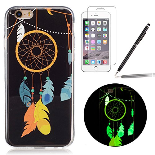 Felfy Coque Pour iPhone 6 Plus,iPhone 6S Plus Silicone Case Cover Ultra Mince Slim Silicone élégant Gel Translucide TPU Souple Motif Design Noctilucent TPU Case Slim Fit Protection Case Coque Bumper C Luminous Campanula