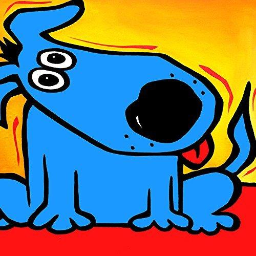 Von Fido verstanden Studio 24x 24ART PRINT POSTER Wand Dekore Abstrakt Happy blau Hund rot Zunge führen Schwanz Pop Art Portraits modernes Bright - Artwork-wand-dekor-rot