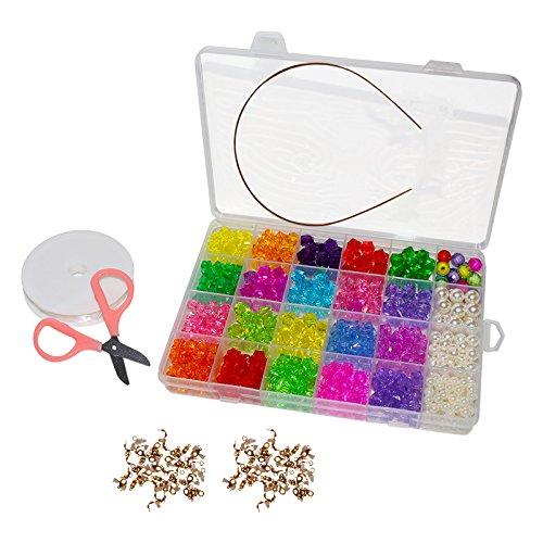 Bunte Acrylperlen - 520-tlgs. Schmuckherstellung Perlen Set mit Box und Zubehör - Schmuck Zubehör zum Basteln - Bastelperlen, Schmuckperlen Set zur Herstellung von Schmuck, DIY Handwerke, Halsketten, Ohrringe, Armbänder für Erwachsene u. Kinder