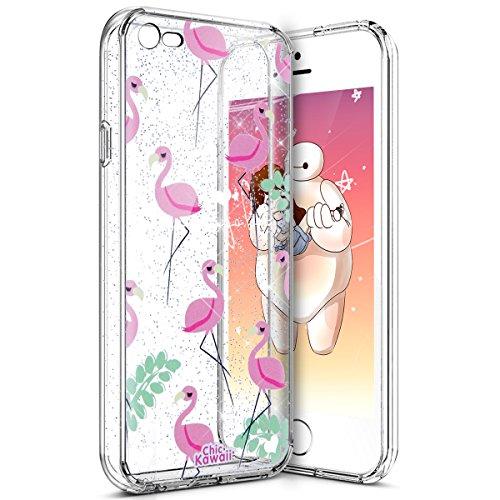 iPhone SE Fall, iPhone 5S TPU Fall, phezen Cute Muster Ultra Thin Soft TPU Bumper Fall, Kristall klar Transparent Flexible Soft Gel TPU Cover Shell Skin Für iPhone SE 55S Flamingo