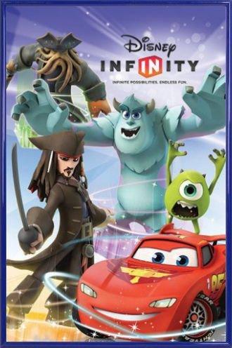 1art1 Disney Infinity Poster und Kunststoff-Rahmen - Jack Sparrow, Davy Jones, Mike, Sulley, Lightning McQueen (91 x 61cm)