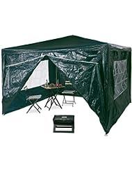 Relaxdays Tonnelle pergola 3x3 m , 4 côtés cadre métal PE tente de jardin fermée pavillon chapiteau, vert