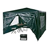 Relaxdays 10020812_53 Gazebo 3x3 M, 4 Side Walls, Metal Frame, PE Tarp, Windows, Enclosed Festival Party Tent or Event Shelter, - Green