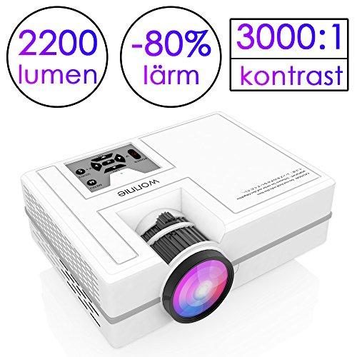 WONNIE Mini Beamer 2200 Lumen,HD tragbare Heimkino-Projektor, Unterstützung 1080P, HDMI, VGA, USB, SD, AV und Kopfhörer-Interface für Multimedia Heimkino Unterhaltung (Weiß 1080P)