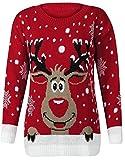FK Styles, maglione natalizio da donna, con motivo fiocchi di neve e renna Rudolph Red XL = 48-50