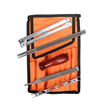 """8 PCS Chainsaw Sharpening File Kit Pouch Including 5/32"""", 3/16"""" & 7/32 Inch Round Files , Flat File, Depth Gauge, Filing Guide, Handle For Men Mowers Worker Gardening Outdoor Activities(HGJ22)"""