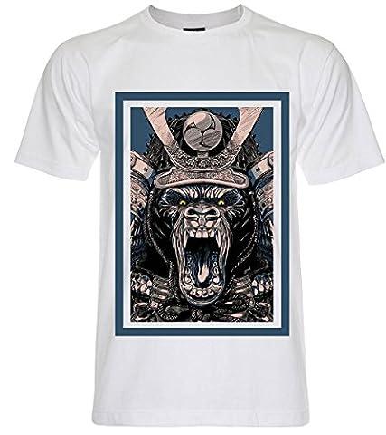 PALLAS Men's Samurai Mask Pirates Graphic Art T Shirt -PA242 (White , XL)