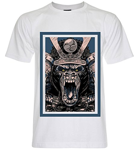 PALLAS Men's Samurai Mask Pirates Graphic Art T Shirt -PA242 White