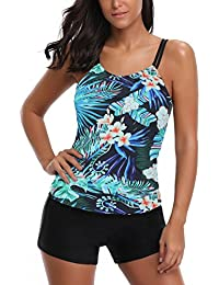 f464868c8e024 AYEEBOOY Women s Plus Size Floral Halter Tankini Set with Boyshort High  Waist Swimsuit Bikini