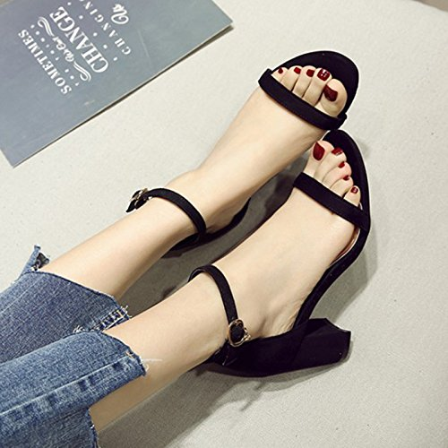 codice tacco tacco Tinta una grosso parola da fibbia unita estate con scarpe Shoeshaoge donna scarpa grande con sandali RxSzE7