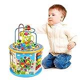 Titiyogo Cube d'activité en Bois 8 en 1 Jeu d'éveil Premier âge 1 an Jouets Labyrinthe de Perles Jouet Éducatif Cadeaux pour Enfants