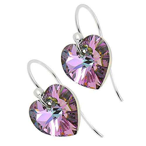 Pendientes de plata de ley 925 con cristales camaleón violeta de Swarovski, perfectos cualquier mujer o niña, incluye caja de regalo, para cumpleaños, Navidad, aniversario, Día de la Madre