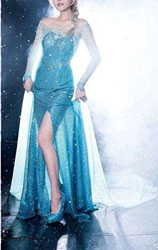 Lonely hero Damen Elegante Prinzessin Elsa Kleid mit warmer Stola Pailletten-Kleid Kostüm Cosplay Kleider - 3