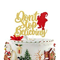 Don't Stop Believing Santa Cake Topper - Christmas Cake Decor - Merry Christmas - Merry Xmas -Ugly Sweater Party Topper - Christmas Party Supplies -