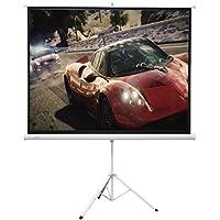 """Pantalla de proyeccion de tripode de 120"""" pulgadas, 2,34 x 1,73 metros area visible, transportable, pantalla para proyector de gran calidad y compatible con HD, FULLHD y 4K"""